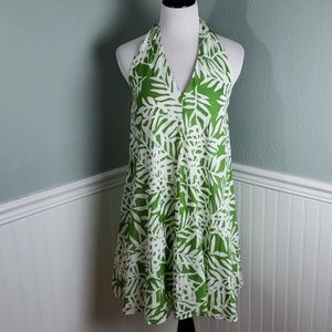 Maggy London Palm Print Halter Neck Swing Dress